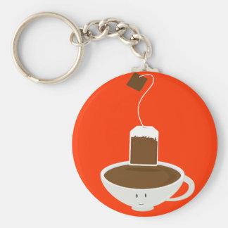 Taza de té sonriente con una bolsita de té llavero