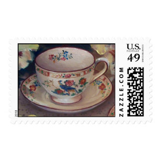 taza de té timbre postal