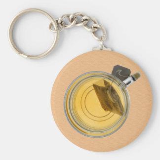 Taza de té y bolsita de té del empapamiento llavero