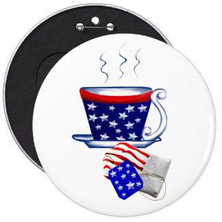 Taza de té y botón americanos del bolso pin