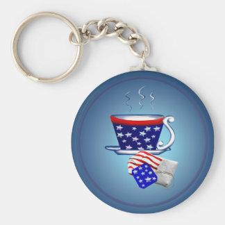 Taza de té y llavero americanos del bolso