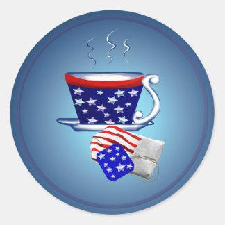 Taza de té y pegatina americanos del bolso