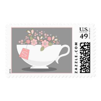 Taza de té y sello personalizado floral de la