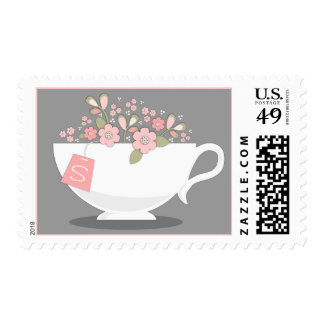 Taza de té y sello personalizado floral de la fies