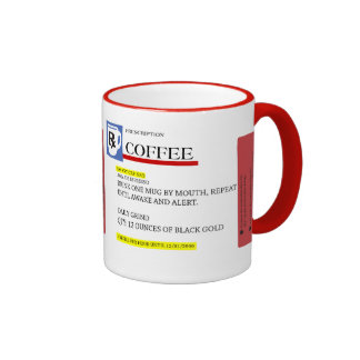 Taza del adicto a cafeína de la prescripción del