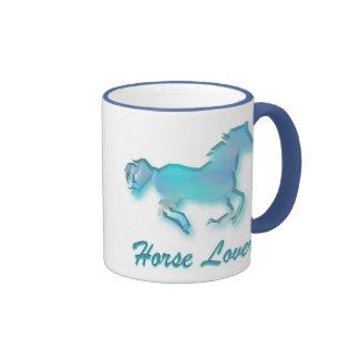 Taza del amante del caballo en turquesa