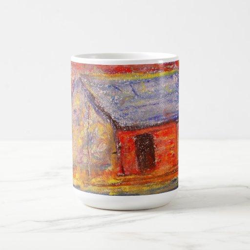 taza del amarillo de la casa de la granja