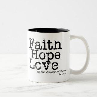 Taza del amor de la esperanza de la fe del vintage