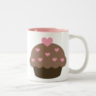 Taza del amor de la magdalena del chocolate