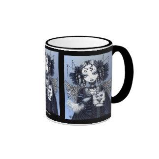 Taza del ángel del gato persa de Elizabeth y de Ve