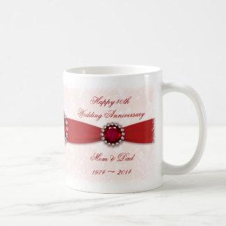 Taza del aniversario de boda del damasco 40.o