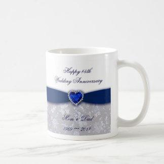 Taza del aniversario de boda del damasco 45.o