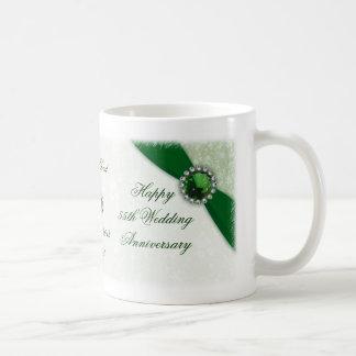 Taza del aniversario de boda del damasco 55.o