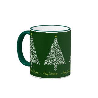 Taza del árbol de navidad del copo de nieve
