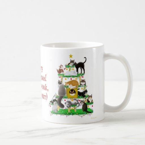 Taza del árbol del gato del navidad