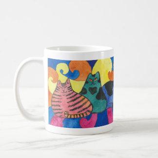 taza del arco iris del gato