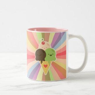 Taza del arco iris del helado de Kawaii