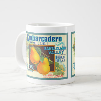 Taza del arte del cajón de la fruta del vintage de taza extra grande