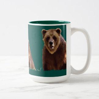 Taza del arte del Fauna-partidario del oso grizzly Taza Dos Tonos