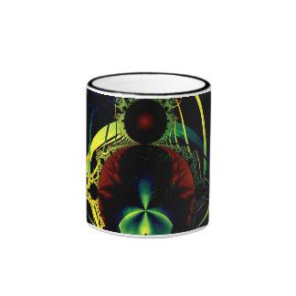 "Taza del arte del ""fractal negro fresco"""