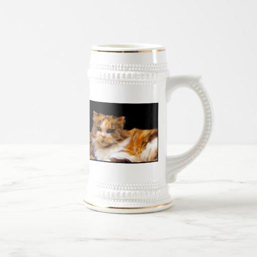 Taza del arte del gato de calicó