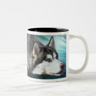 Taza del arte del husky siberiano
