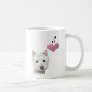 Taza del arte del perro de Westie del amor