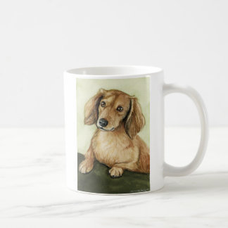 """Taza del arte del perro del """"Dachshund de pelo"""