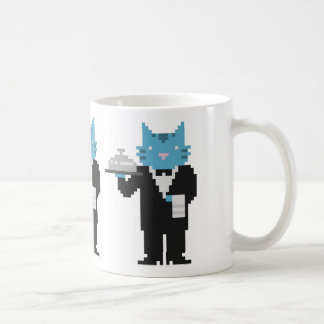Taza del arte del pixel del gato del camarero