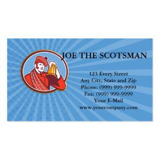 Taza del bebedor de cerveza del Scotsman retra Tarjetas De Negocios
