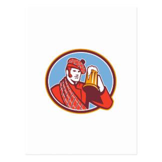 Taza del bebedor de cerveza del Scotsman retra Tarjetas Postales