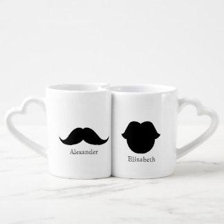 Taza del bigote y del amante de encargo de los taza para enamorados