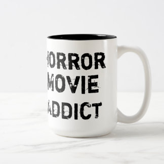 Taza del blanco del adicto a la película de terror
