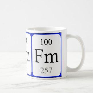 Taza del blanco del elemento 100 - fermio