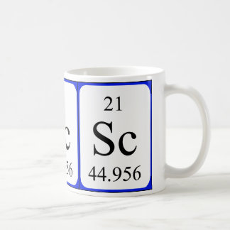 Taza del blanco del elemento 21 - escandio