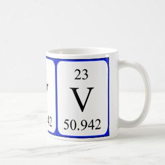 Taza del blanco del elemento 23 - vanadio