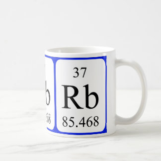 Taza del blanco del elemento 37 - rubidio