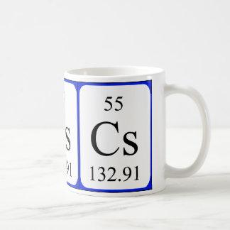 Taza del blanco del elemento 55 - cesio