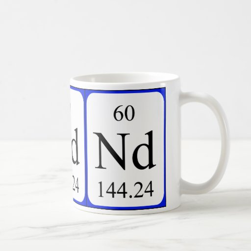 Taza del blanco del elemento 60 - neodimio