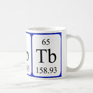 Taza del blanco del elemento 65 - terbio
