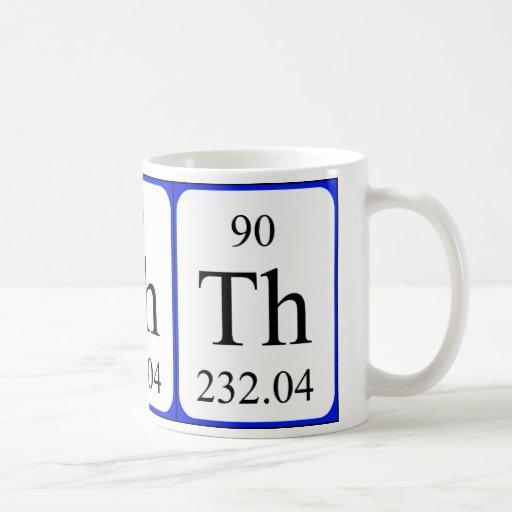 Taza del blanco del elemento 90 - torio