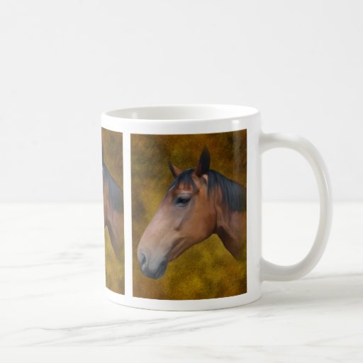 Taza del caballo de bahía de Brown
