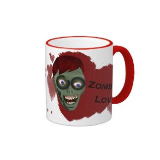 Taza del café express del amor del zombi