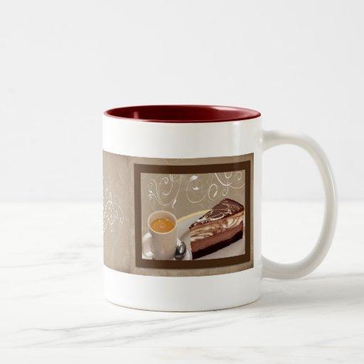 Taza del café y del pastel de queso