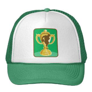 Taza del campeonato del rugbi con la silueta del j gorra