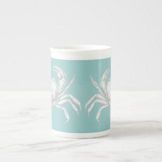 Taza del cangrejo con un diseño del vintage tazas de porcelana