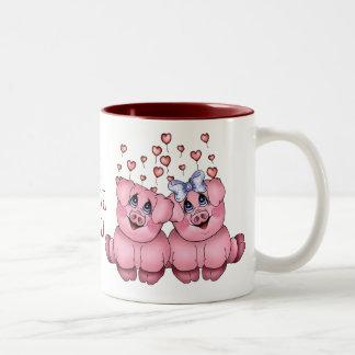 Taza del cerdo del amor
