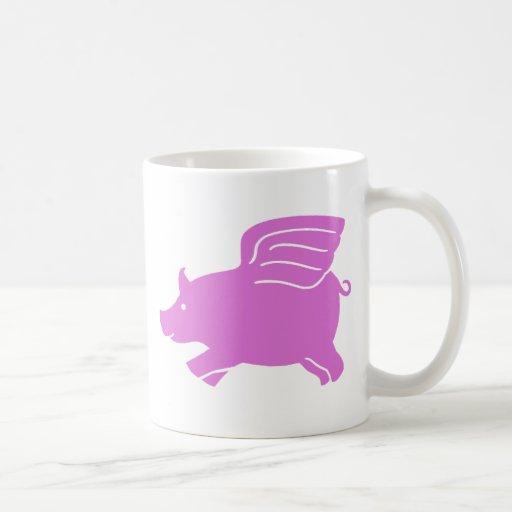 Taza del cerdo del vuelo - rosa