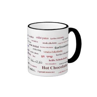Taza del chocolate caliente en los otros idiomas (