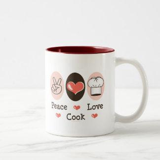 Taza del cocinero del amor de la paz